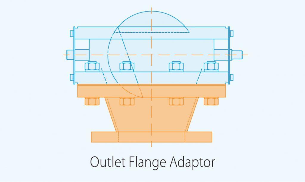 outlet flange adaptor product diagram blue print