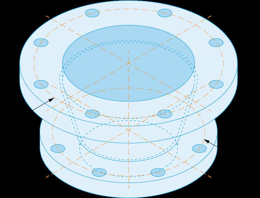 outlet flange product diagram blue print