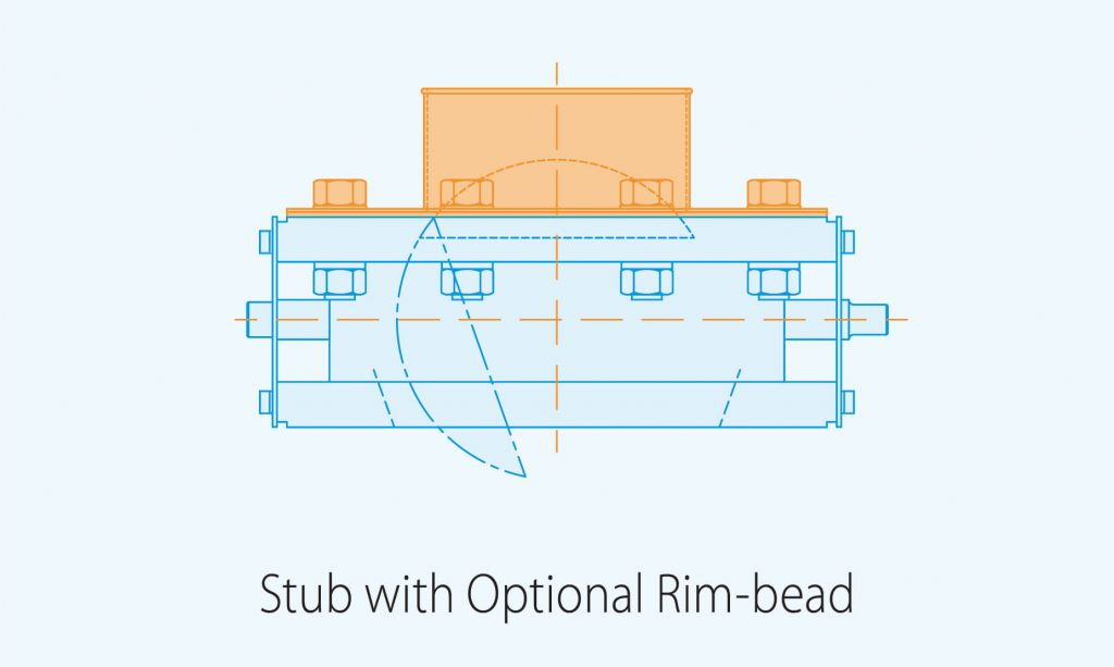 stub with optional rim bead product diagram blue print