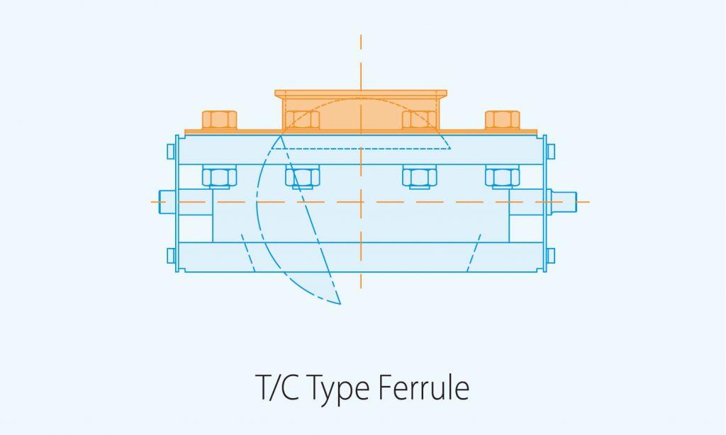 T C Type ferrule product diagram blue print
