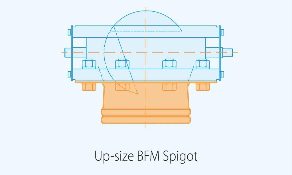 up size BFM spigot product diagram blue print