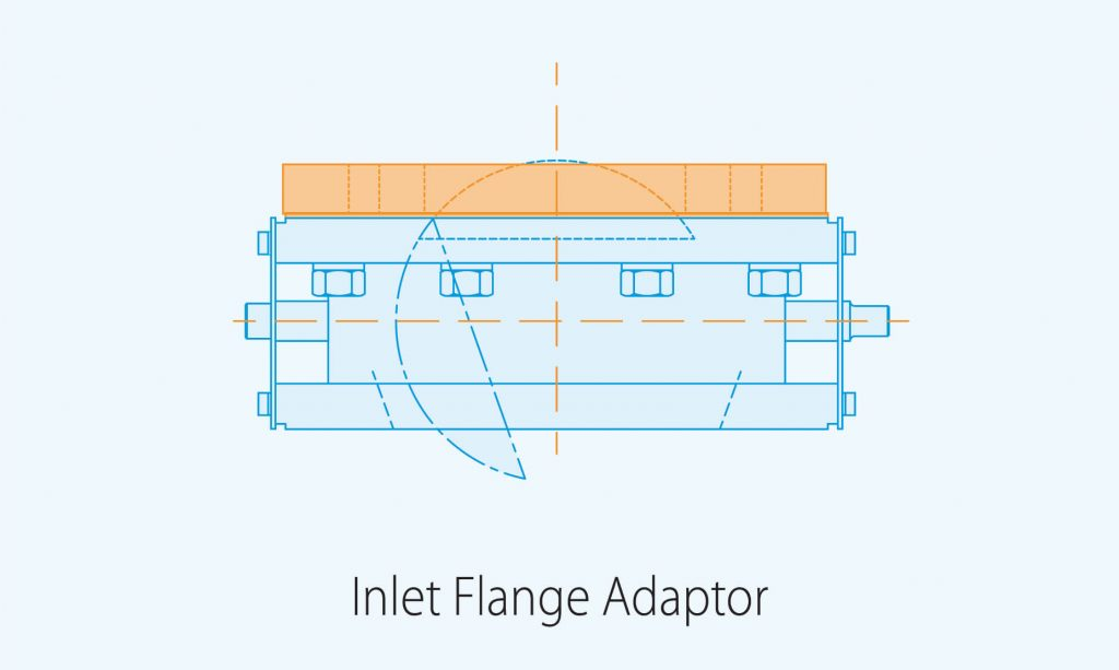 inlet flange adaptor product diagram blue print