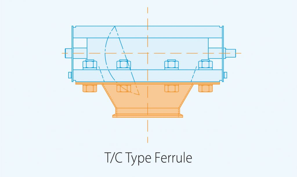 outlet T C Type ferrule product diagram blue print