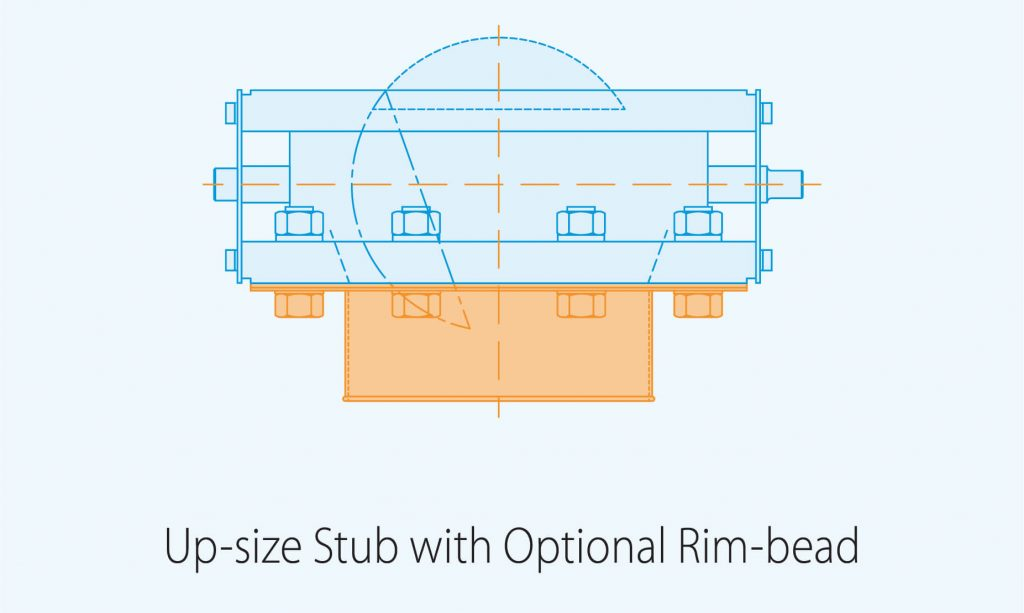 up size stub with optional rim bead product diagram