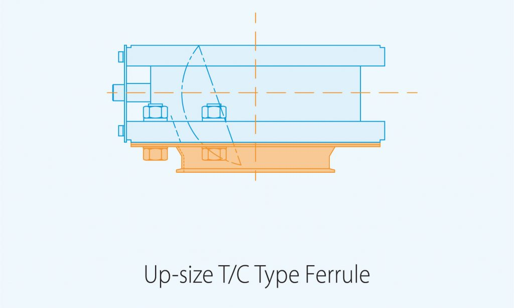 upsize T C Type ferrule product diagram blue print